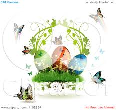 clipart easter eggs with butterflies and grass 3 royalty free
