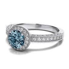 aquamarine wedding rings halo milgrain vintage diamond and aquamarine gemstone ring in 14k