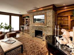 modern living room with stone fireplace white wooden laminate low