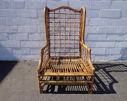 Wingback Wicker Chair Rattan Chair Etsy