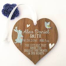 new baby boy gift persoanlised wooden heart baby present baby