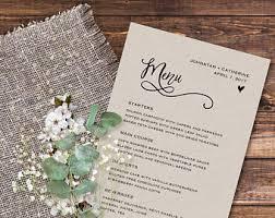printable wedding menu wedding menu template menu cards