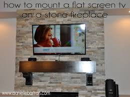 made how to mount a flat screen tv on a stone fireplace diy for