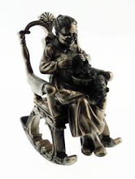 Old Man In Rocking Chair Collectable Bronze Colour Grandmother In Rocking Chair Figurine