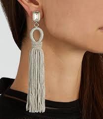 clip on earrings australia oscar de la renta swarovski embellished tassel earrings