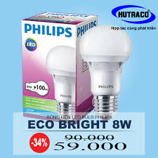 đèn philips led bulb ecobright 8w e27