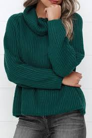 green sweaters casual turtleneck solid color raglan sleeve pullover sweater for