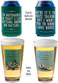 wedding koozie quotes irreverent glass pints and can koozies