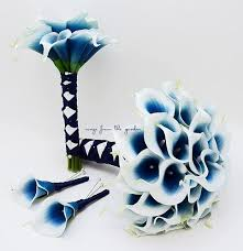 royal blue boutonniere royal blue picasso real touch calla bridal bouquet groom s