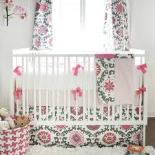 Pink Nursery Bedding Sets bumper ragamuffin in pink pink and gray crib baby bedding set
