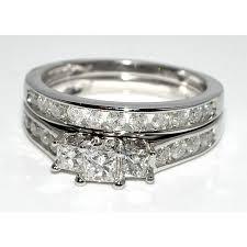 Princess Cut Wedding Ring by 1ct Bridal Set Princess Cut Ctr 3 Stone White Gold U0026 Side Diamond