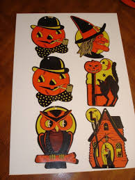 6 vintage halloween decorations wall die cut witch face