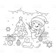 coloring page outline of cartoon making christmas paper