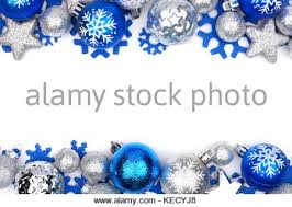 border of blue and silver ornaments on a white