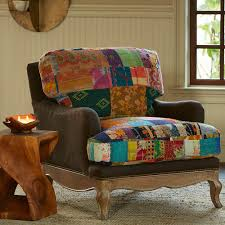 North Carolina Upholstery Furniture Vintage Kantha Upholstered Chair Recycled Fabric Vivaterra
