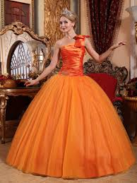orange quinceanera dresses one shoulder skirt quinceanera dress