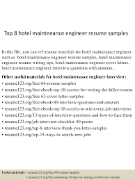 Maintenance Resume Examples Top8hotelmaintenanceengineerresumesamples 150516091104 Lva1 App6891 Thumbnail 4 Jpg Cb U003d1431767509