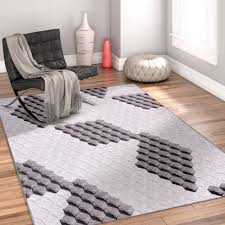 3d Area Rugs Honeycomb Cubes Grey Geo Modern 3d Boxes Area Rug Ruglots