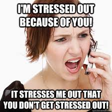 Annoying Girlfriend Meme - i m stressed out because of you it stresses me out that you don t