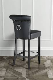 Bar Stool With Back Positano Black Pu Leather Bar Stool With Ring Back Black Pu