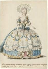robe mari e chetre figure de mode dame en robe de cour retroussée sur le côté droit