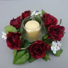 flower candle rings candle ring with artificial roses blossom artificial