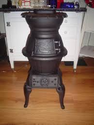 Pot Belly Stove With Glass Door by Cast Iron Wood Burning Pot Belly Stove Eagle U0026 Stars Antique