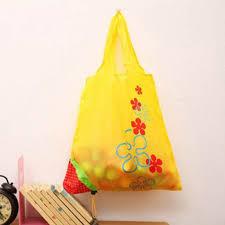 eco bag yellow flower storage handbag red strawberry foldable