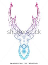 deer reindeer santa antlers garlands stock vector