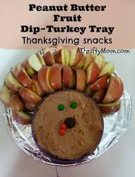 peanut butter fruit dip turkey tray thanksgiving snack idea