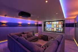 Sofa Movie Theater by Modern Home Theater With U Shaped Sectional Sofa And Led Lighting