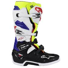 motocross boots alpinestars 2018 new mx tech 7 fluro yellow blue white