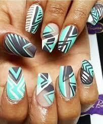 royal blue matte tribal aztec nails design nails pinterest