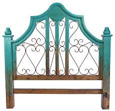 Iron And Wood Headboards Turquoise Two Tone Mexican Painted Wood Headboard With Wrought