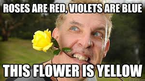 Yellow Meme - roses are red violets are blue this flower is yellow poet stalker