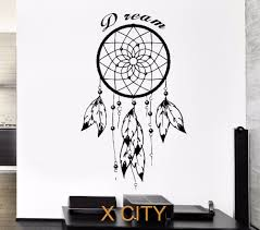 online get cheap wall quotes stencils aliexpress com alibaba group black wall decal dreamcatcher native american indian quote dream amulet for bedroom sticker vinyl stencil mural