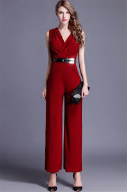 evening jumpsuits fashion v neck sleeveless burgundy jersey formal occasion evening