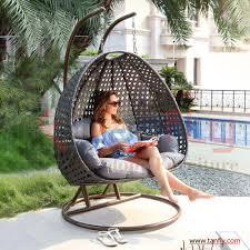 Outdoor Wicker Egg Chair Two Person Outdoor Indoor Garden Rattan Double Swing Hanging