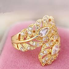 vintage rings designs images New design gold color big wedding rings vintage aaa zircon leaf jpg