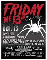friday the 13th trivia with geeks who drink butterfly pavilion