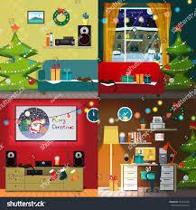 set christmas room interiors christmas tree stock illustration