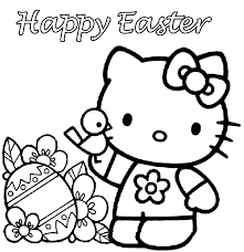 hello kitty painting easter eggs coloring page at pages