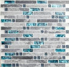 Blue Shell Tile Glass Mosaic Kitchen Backsplash Tiles SGMT Grey - Teal glass tile backsplash