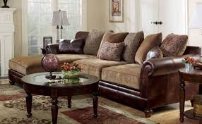 sanders old world faux leather chenille sofa couch sectional set