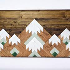geometric mountain tops wooden wall