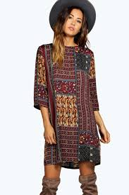 boohoo clothes paisley shift dress boohoo