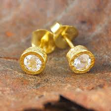 gold studs earrings gold and white topaz stud earrings gemstone topaz and gold