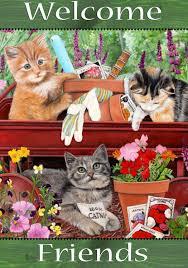 Welcome Flag Amazon Com Welcome Friends Garden Kitty Calico Tabby Cat Garden