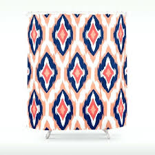 Coral And Navy Curtains Coral Ikat Curtains Modern Tribal Pattern Coral Navy White Shower