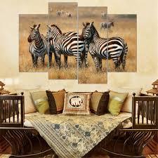 4 pieces leopard lion elephant zebra print on canvas african
